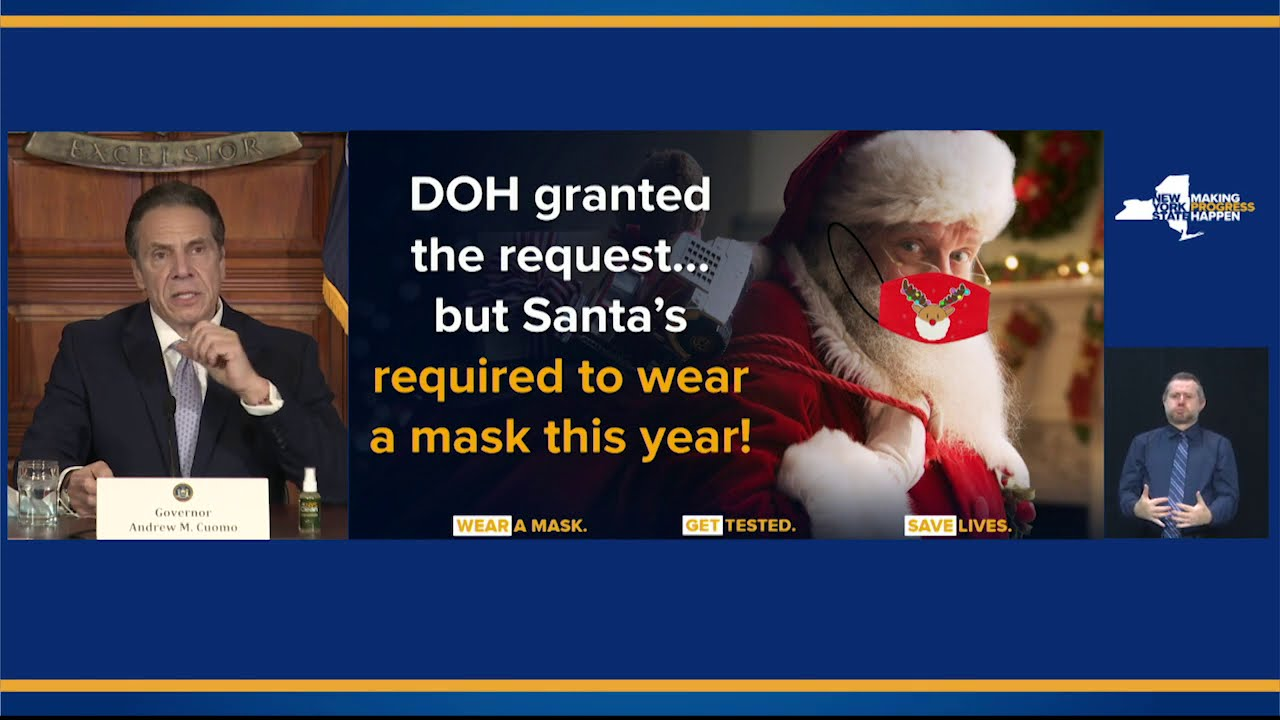 CRINGE: Governor Cuomo Waives Santa From State's Quarantine, But Orders Him to Wear A Mask